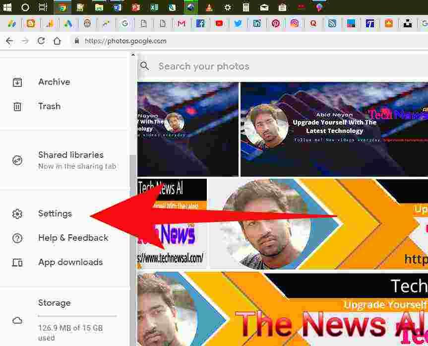 setting option in google photos